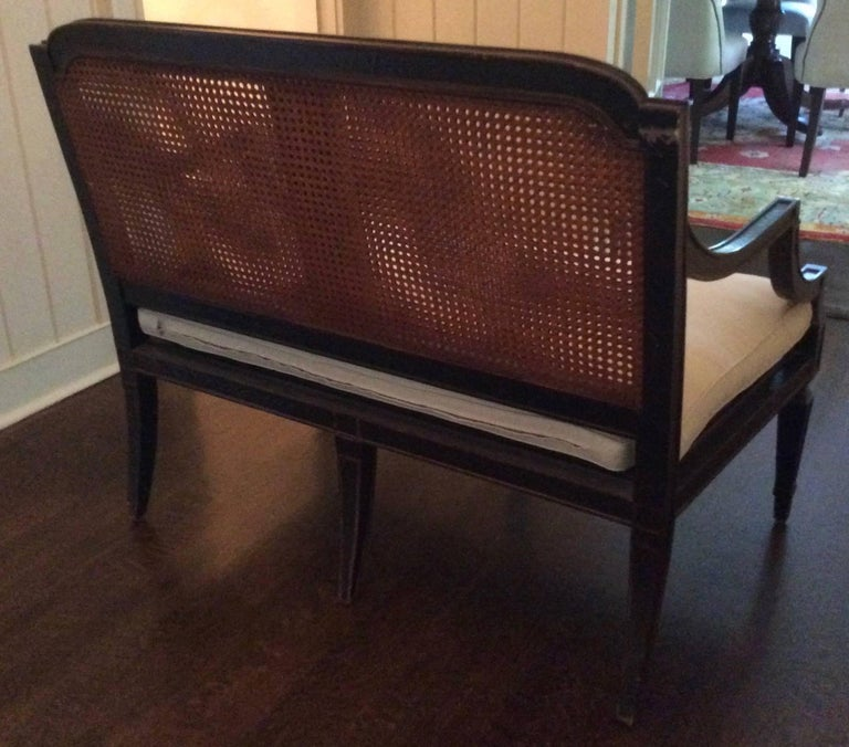 Woven Louis XVI French Carved Wood Settee, Custom Upholstered in Linen For Sale