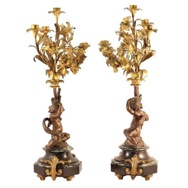 European Pair of 19th Century Louis XVI Style Gilt and Cast Bronze Putti Candelabra For Sale