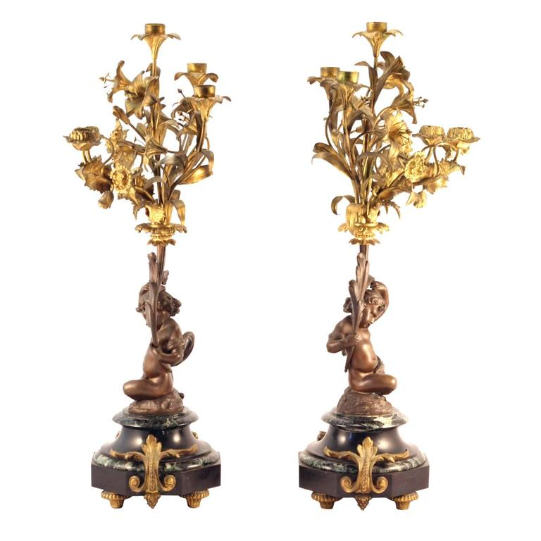 Pair of 19th Century Louis XVI Style Gilt and Cast Bronze Putti Candelabra In Excellent Condition For Sale In Brisbane, Queensland