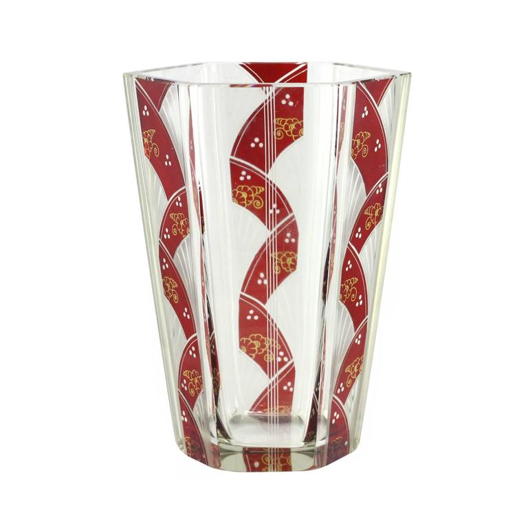 Art Deco Etched Hexagonal Vase with Ruby Flashing by Karl Palda  3