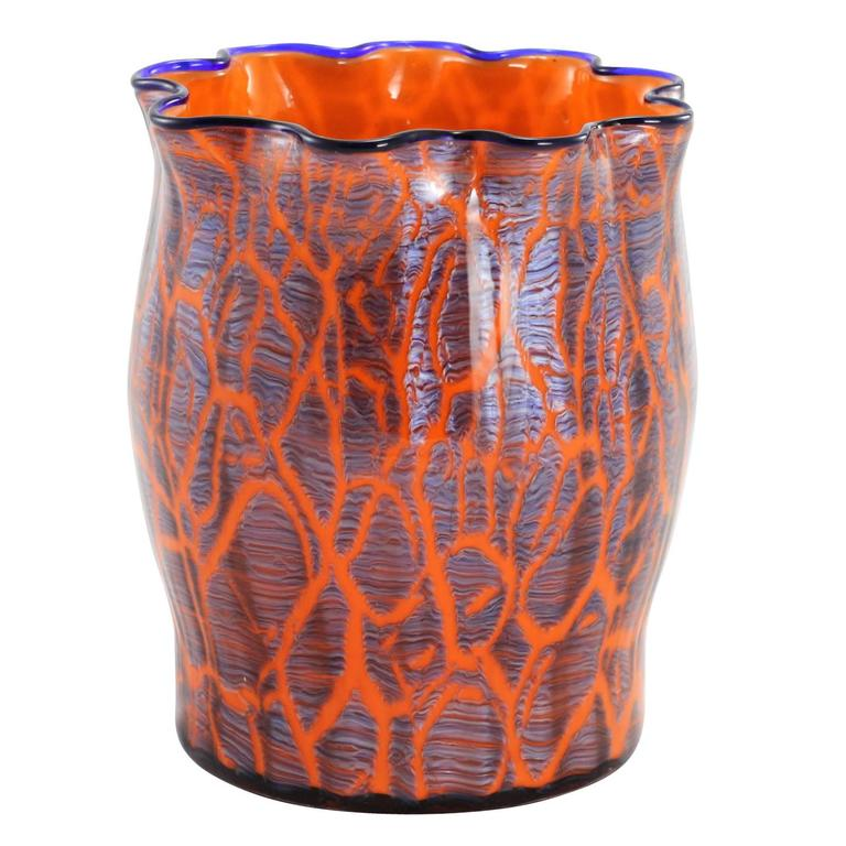Early 20th Century Art Deco Bohemian Glass Vase By Loetz For Sale At