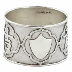 Chinese Qing Dynasty Export Silver Napkin Ring by Woshing