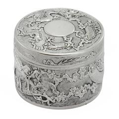 Late 19th Century Chinese Qing Dynasty Silver Lidded Box