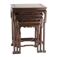 Set of Three Early 20th Century Chinese Rosewood Nesting Tables