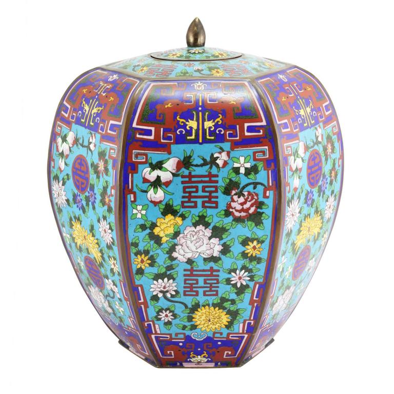 Modern Pair of Large Chinese Cloisonne Enamel Lidded Jars For Sale