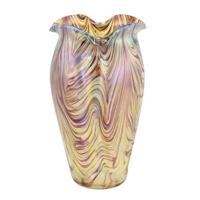"""Art Nouveau Bohemian """"Swirl"""" Vase by Kralik 1"""