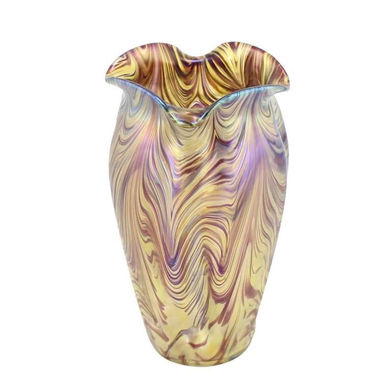 """Art Nouveau Bohemian """"Swirl"""" Vase by Kralik 2"""