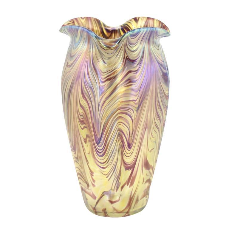 """Art Nouveau Bohemian """"Swirl"""" Vase by Kralik 3"""