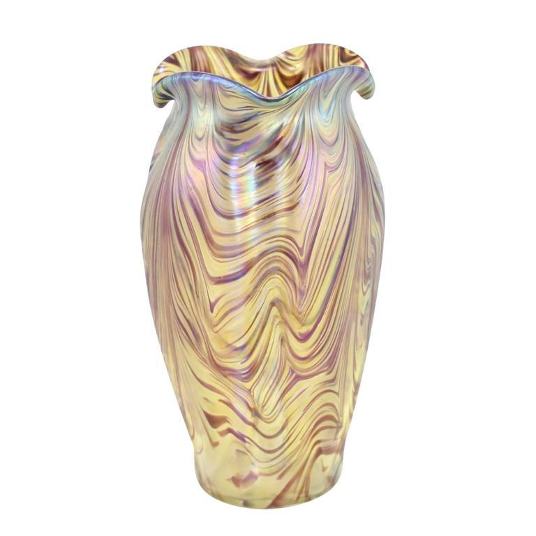 """Art Nouveau Bohemian """"Swirl"""" Vase by Kralik 4"""