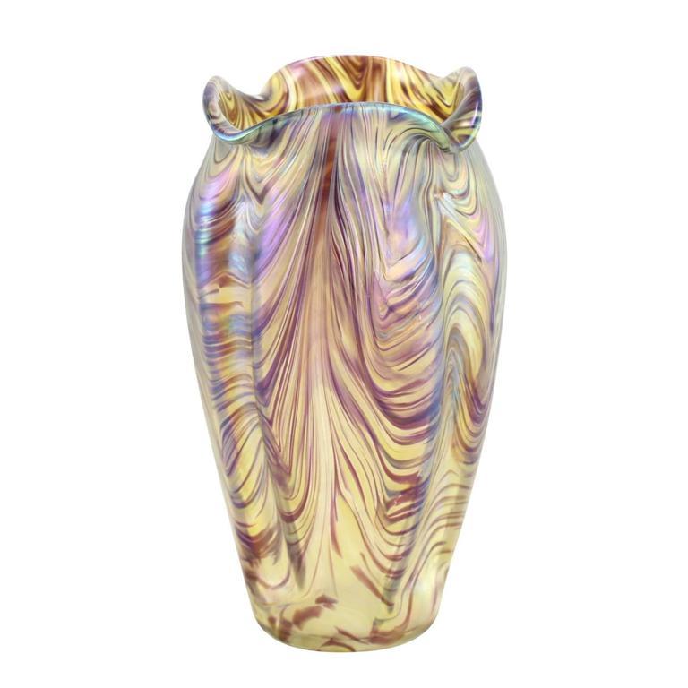 """Art Nouveau Bohemian """"Swirl"""" Vase by Kralik 6"""
