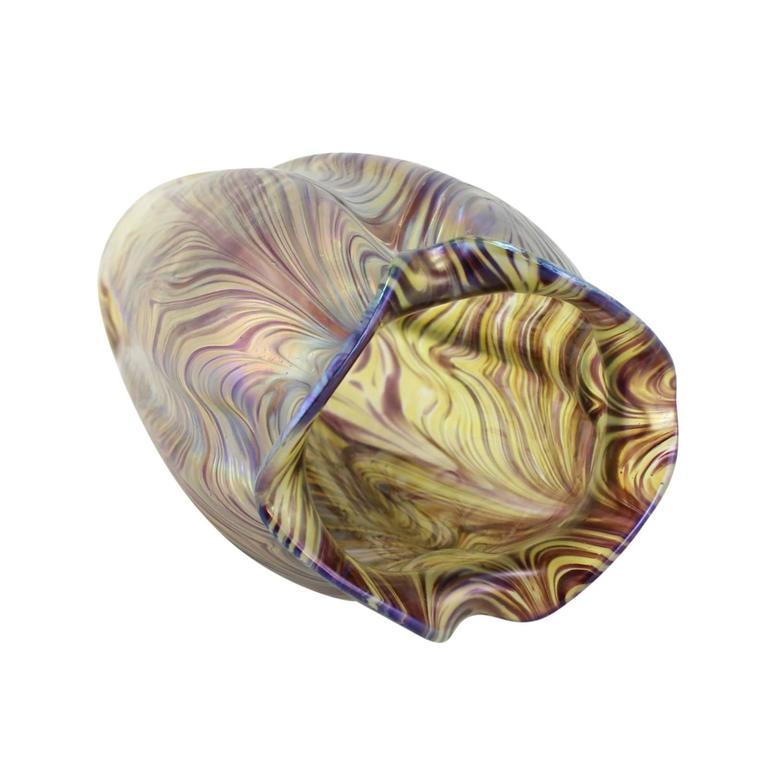 """Art Nouveau Bohemian """"Swirl"""" Vase by Kralik 7"""