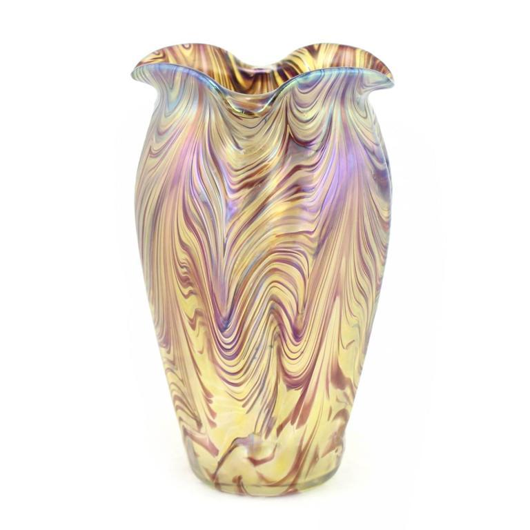"""Art Nouveau Bohemian """"Swirl"""" Vase by Kralik 8"""