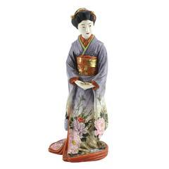 Important Hand-Painted Japanese Meiji Porcelain Geisha by Kinkozan Sobei