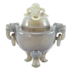 Late Qing Dynasty Carved Chinese Lavender Agate Censer