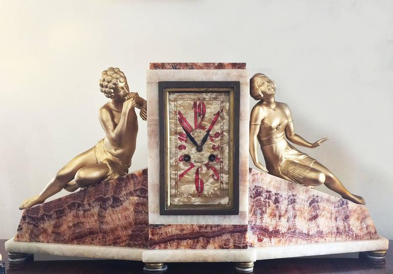 Art Deco French Clock of Marble and Mother-of-Pearl 8
