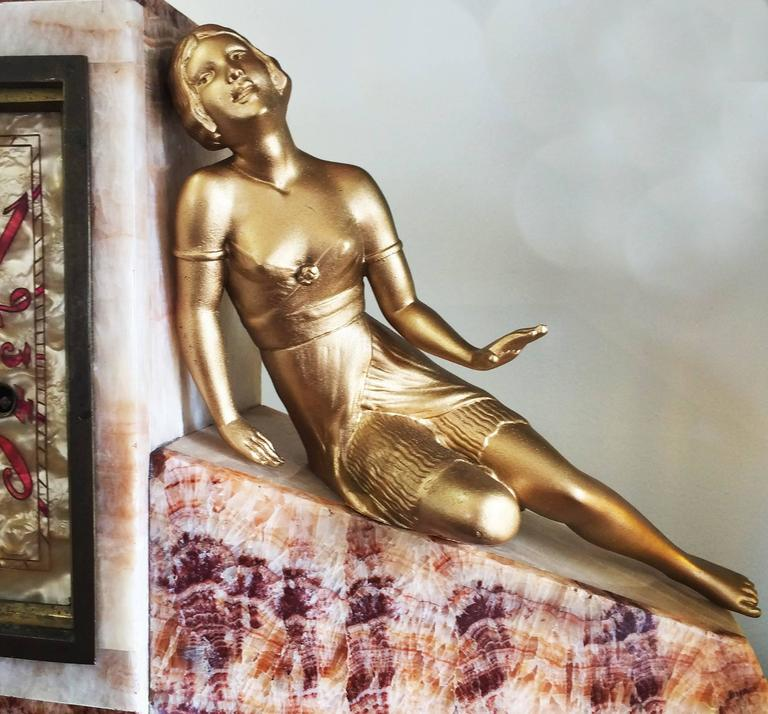 Art Deco French Clock of Marble and Mother-of-Pearl 2