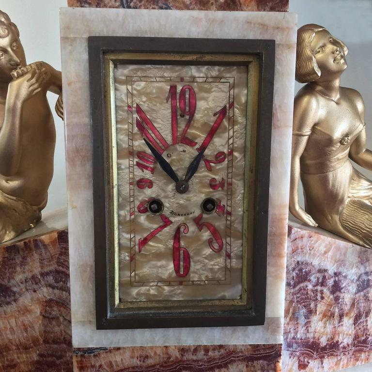 Art Deco French Clock of Marble and Mother-of-Pearl 5