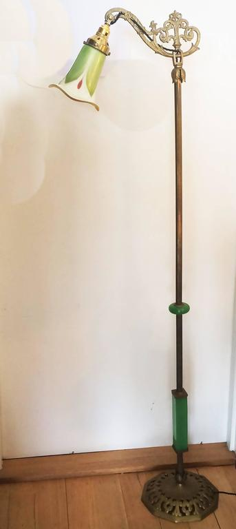 Art Nouveau American Bridge Floor Standard Lamp with Pulled Feather Shade 3