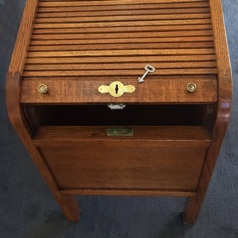 Art Deco Golden Oak Tambour Roll Top Filing Cabinet At 1stdibs