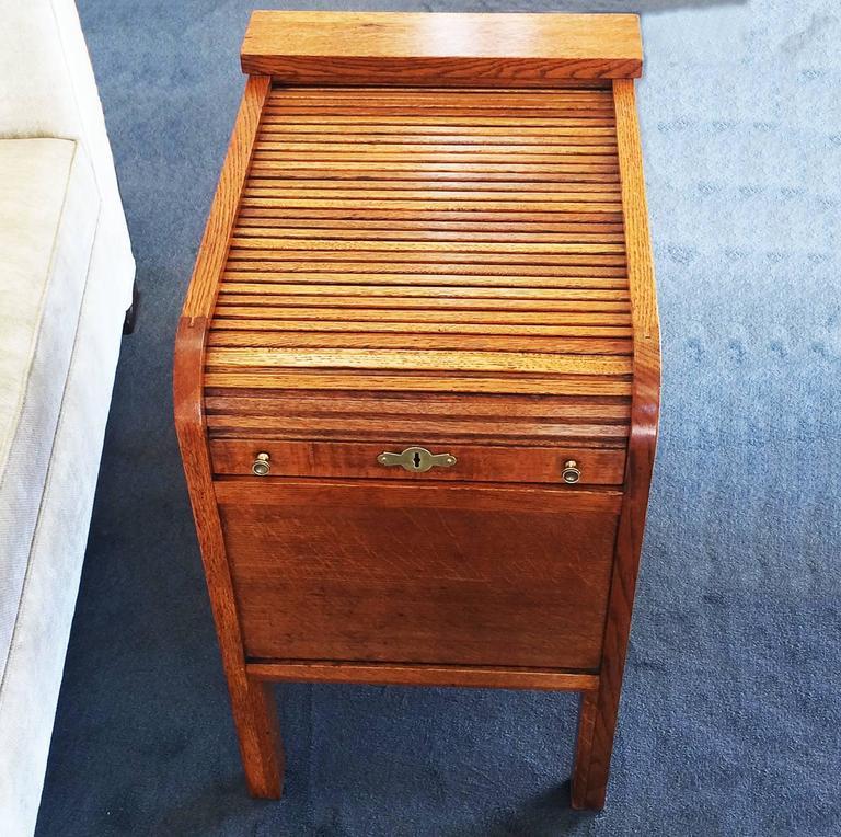 Art Deco Golden Oak Tambour Roll Top Filing Cabinet At 1stdibs