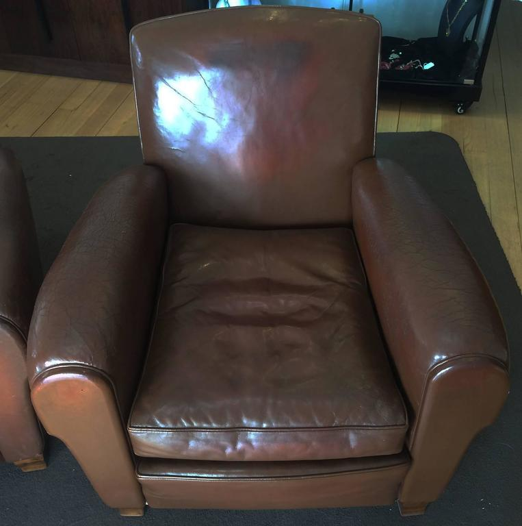 Pair of Art Deco French Leather Armchairs Club Chairs 4