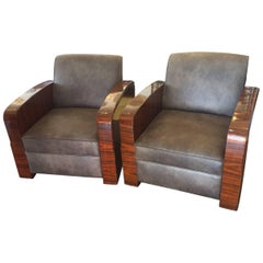 Pair of Art Deco Amboyna Armchairs