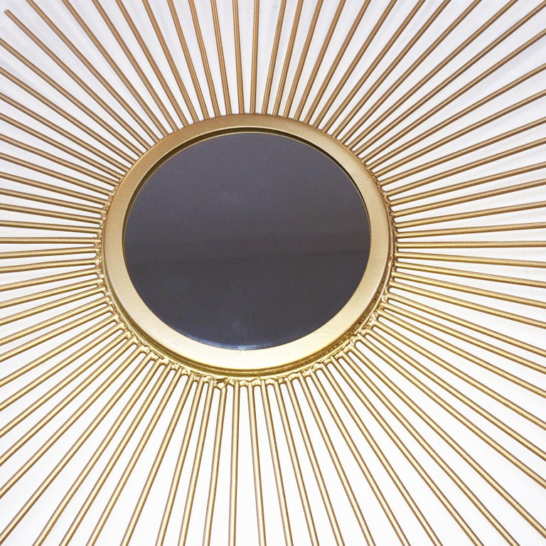 Mid-Century Modern Midcentury Sunburst Shape Mirror with Gilt Tapered Solid Rods For Sale