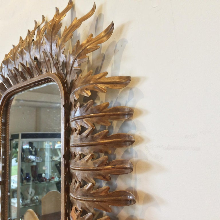 Early 20th Century French Art Deco Aged Gilt Acanthus Leaf Raised Mirror For Sale