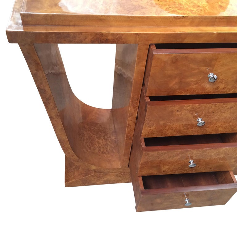 German Art Deco Design Console or Hall Table with Central Drawers For Sale
