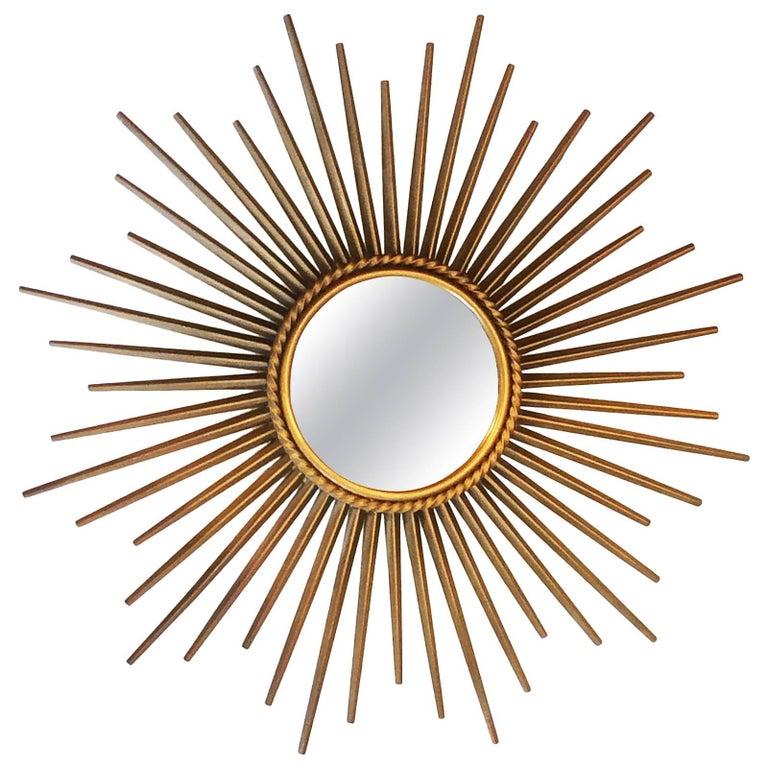 French Midcentury Sunburst Chaty Vallauris Mirror For Sale