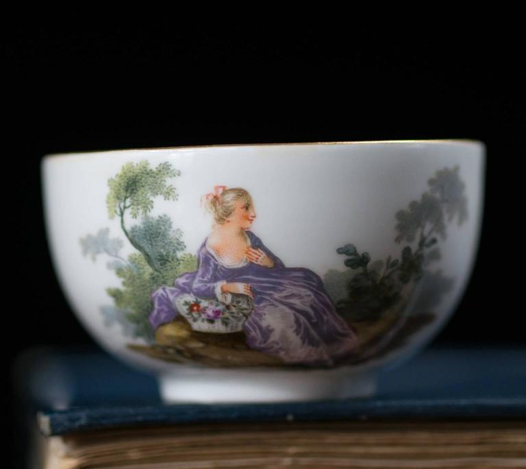 German Meissen Teabowl and Saucer, Watteauesque Scenes, circa 1770 For Sale