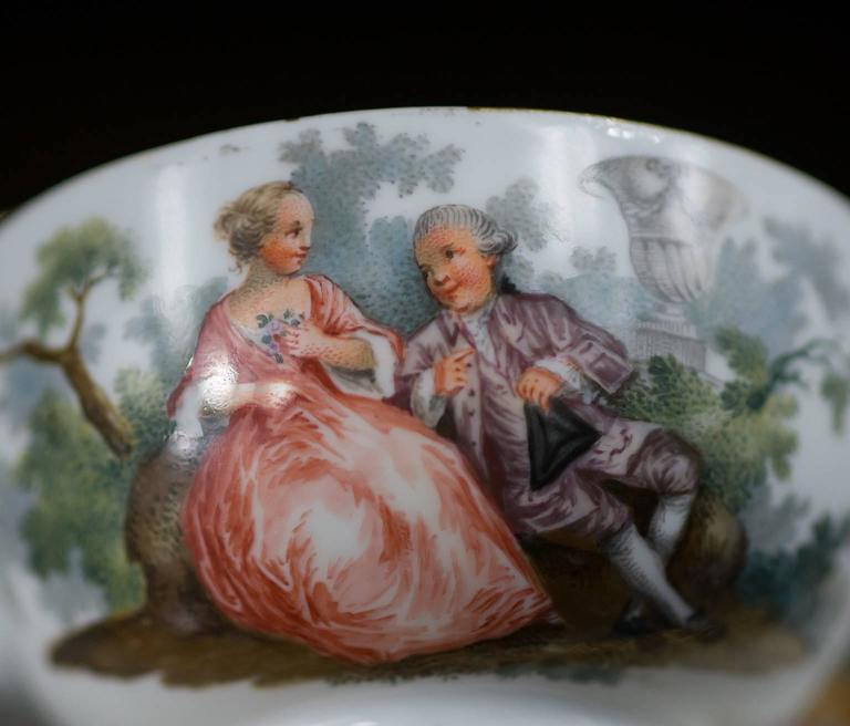 Late 18th Century Meissen Teabowl and Saucer, Watteauesque Scenes, circa 1770 For Sale