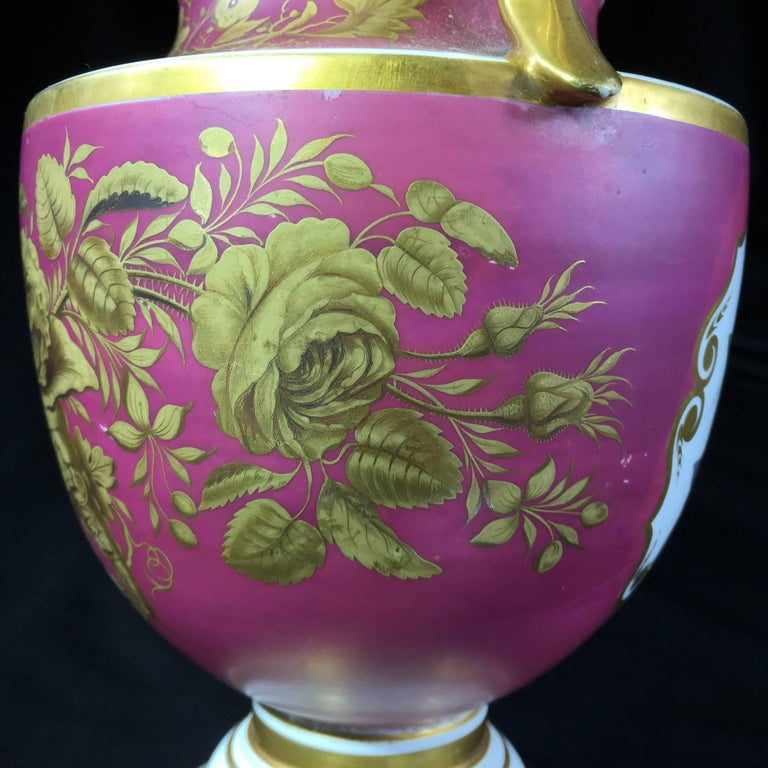 Porcelain Classical Vase with Superb Flower Panels Claret Ground, circa 1825 In Excellent Condition For Sale In Geelong, Victoria