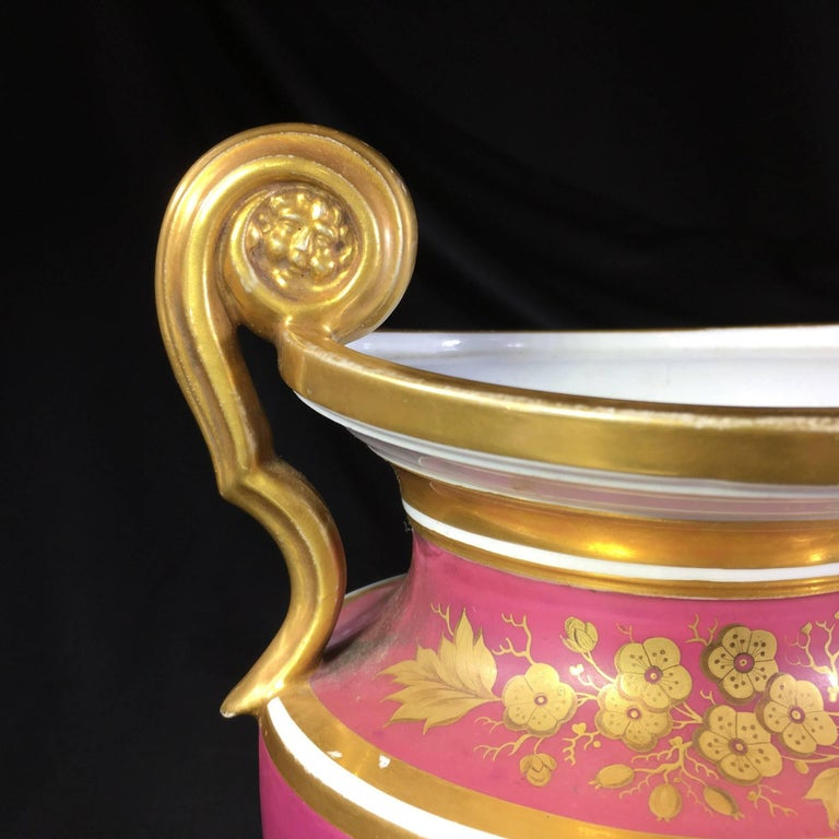 Early 19th Century Porcelain Classical Vase with Superb Flower Panels Claret Ground, circa 1825 For Sale