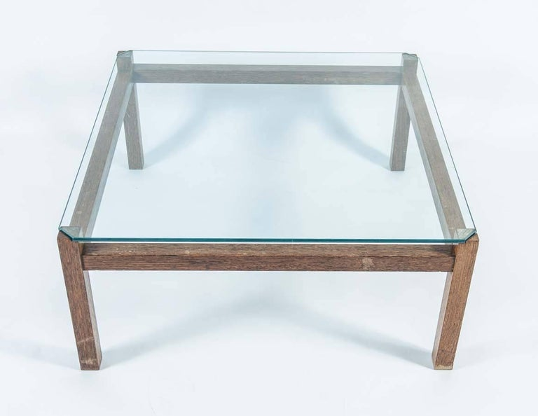 Mid-Century Modern Midcentury Wengé and Glass Coffee Table designed by Kho Liang Ie for Artifort For Sale