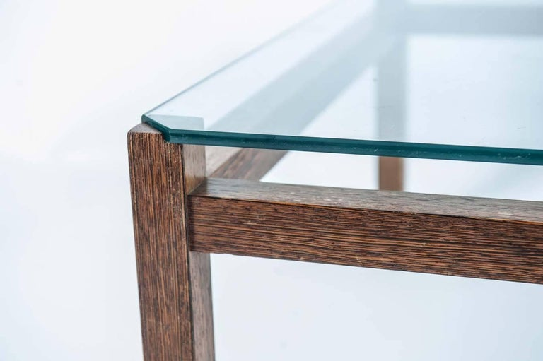 Mid-20th Century Midcentury Wengé and Glass Coffee Table designed by Kho Liang Ie for Artifort For Sale