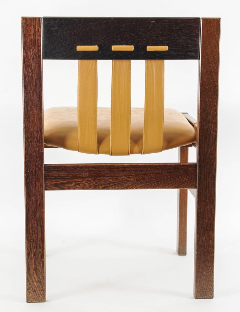 Set of 4 Midcentury Chairs with Leather Designed, Martin Visser for 't Spectrum For Sale 2