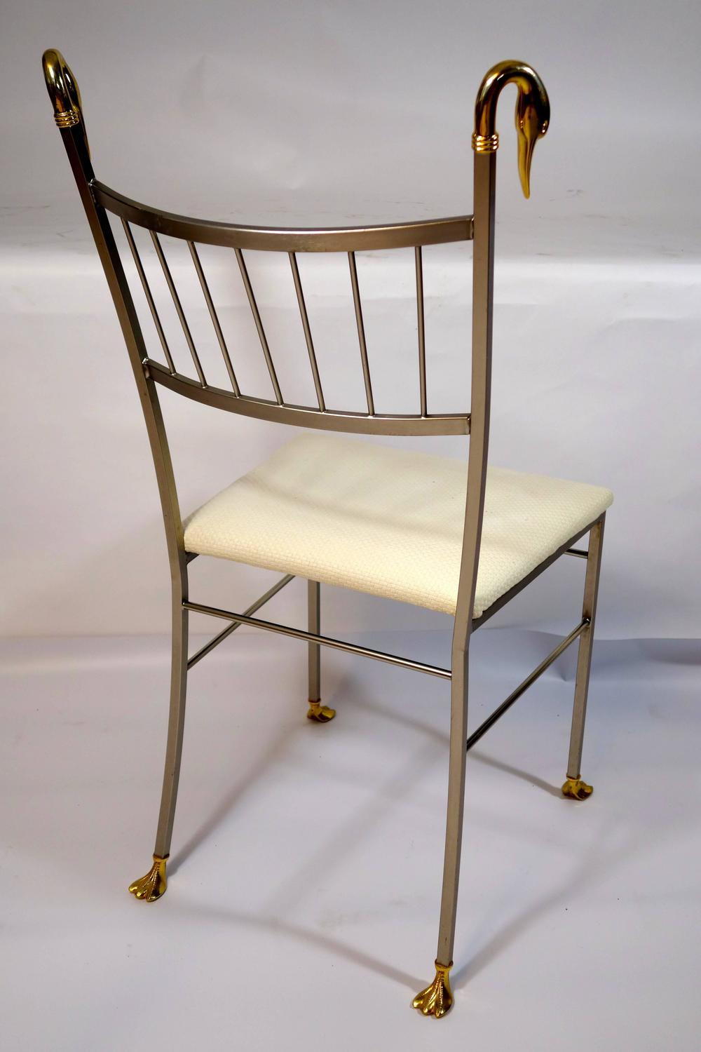 Brass swan dining chairs in the style of labarge for sale for Swan chairs for sale