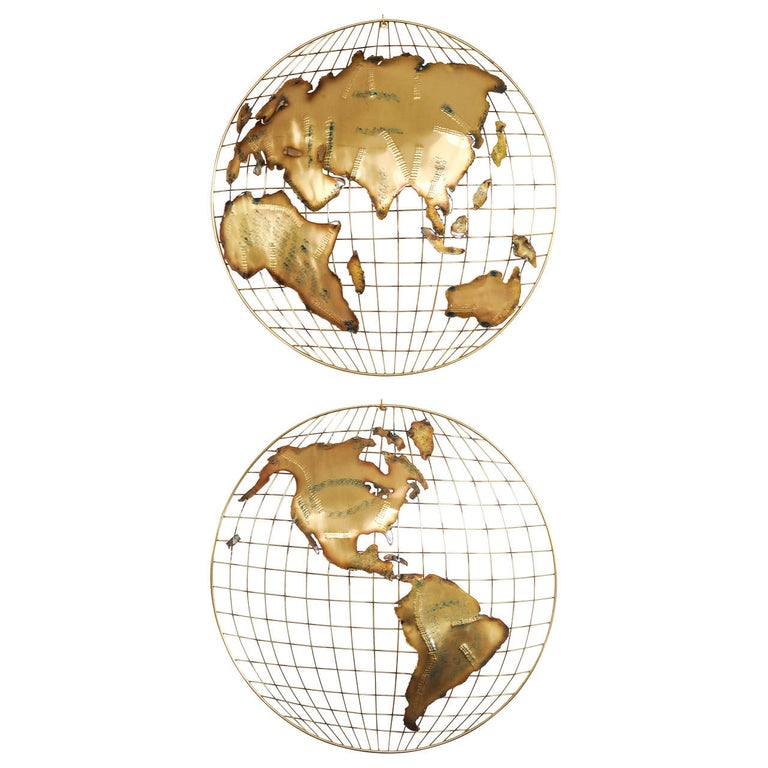 Pair of Brass Wall Sculptures together forming 'The World' by Curtis Jeré For Sale