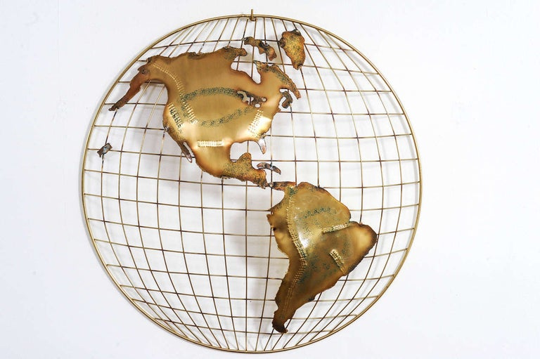 Mid-Century Modern Pair of Brass Wall Sculptures together forming 'The World' by Curtis Jeré For Sale