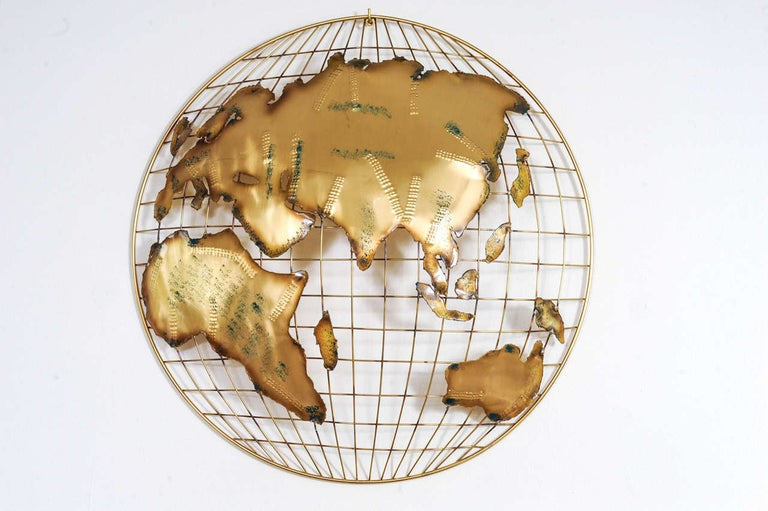 American Pair of Brass Wall Sculptures together forming 'The World' by Curtis Jeré For Sale