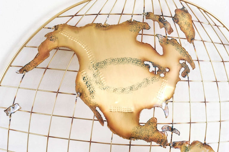 Late 20th Century Pair of Brass Wall Sculptures together forming 'The World' by Curtis Jeré For Sale