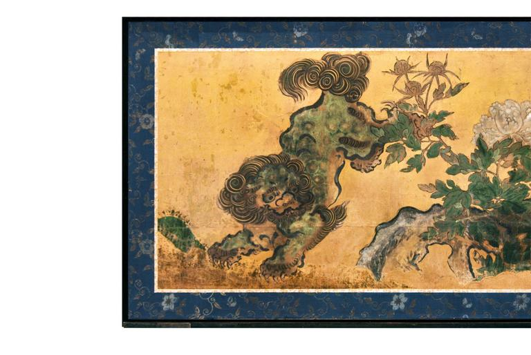 Antique Japanese Two Panel Karashishi Screen, Edo Period, circa 17th Century 2
