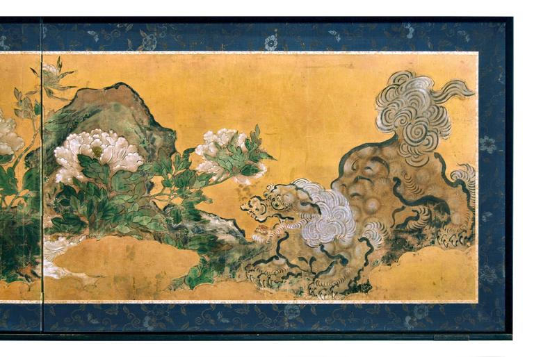Antique Japanese Two Panel Karashishi Screen, Edo Period, circa 17th Century 3