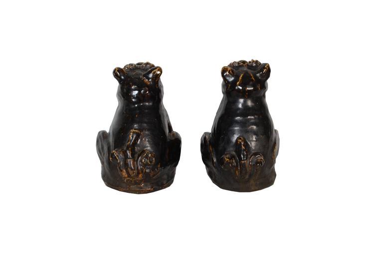 Glazed Rare Japanese Seto Pottery Folk Art Shishi Guardian Dogs, Meiji Period For Sale