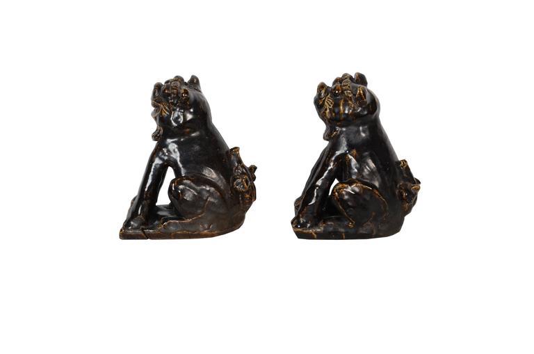 Rare Japanese Seto Pottery Folk Art Shishi Guardian Dogs, Meiji Period In Fair Condition For Sale In Prahran, Victoria