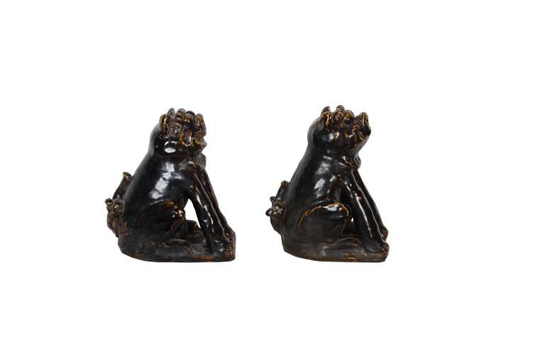20th Century Rare Japanese Seto Pottery Folk Art Shishi Guardian Dogs, Meiji Period For Sale