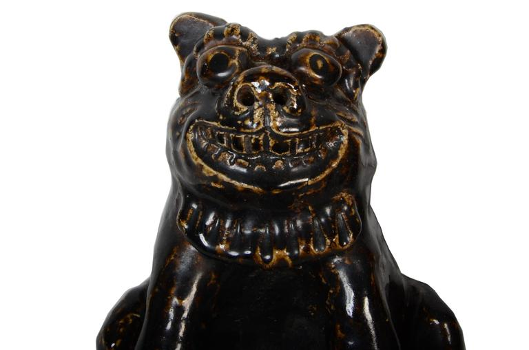 Rare Japanese Seto Pottery Folk Art Shishi Guardian Dogs, Meiji Period For Sale 1