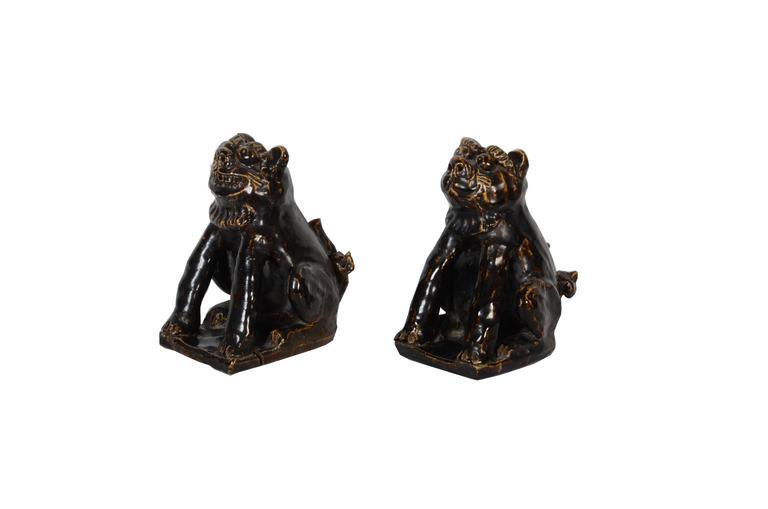 Rare Japanese Seto Pottery Folk Art Shishi Guardian Dogs, Meiji Period For Sale 2
