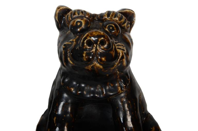 Rare Japanese Seto Pottery Folk Art Shishi Guardian Dogs, Meiji Period For Sale 3